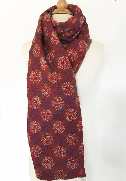 Kantha Silk Reversible Scarf-Stole - Red-Orange Circles