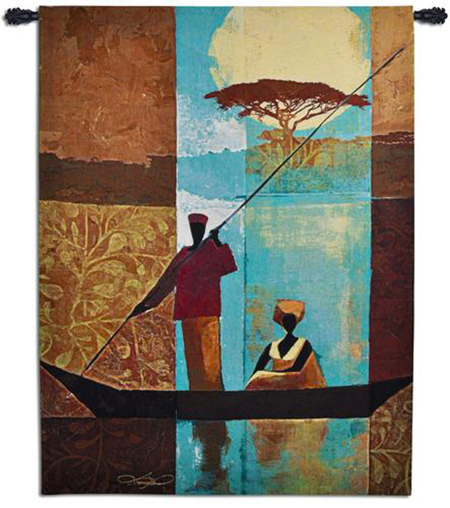 On The River Wall Tapestry by Keith Mallet©