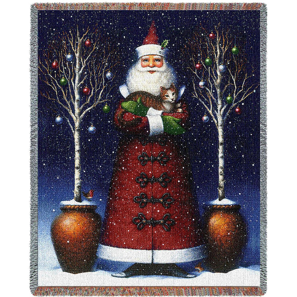 Kitty Santa Woven Throw Blanket -