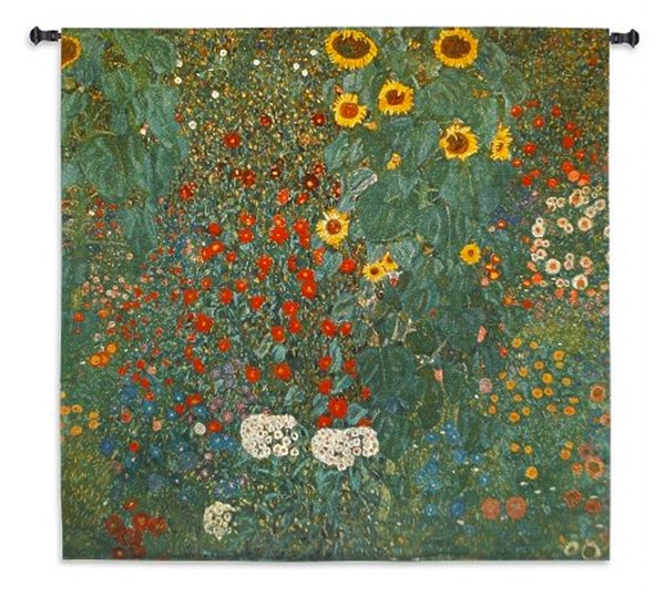 Farm Garden with Sunflowers Wall Tapestry by Gustave Klimt©