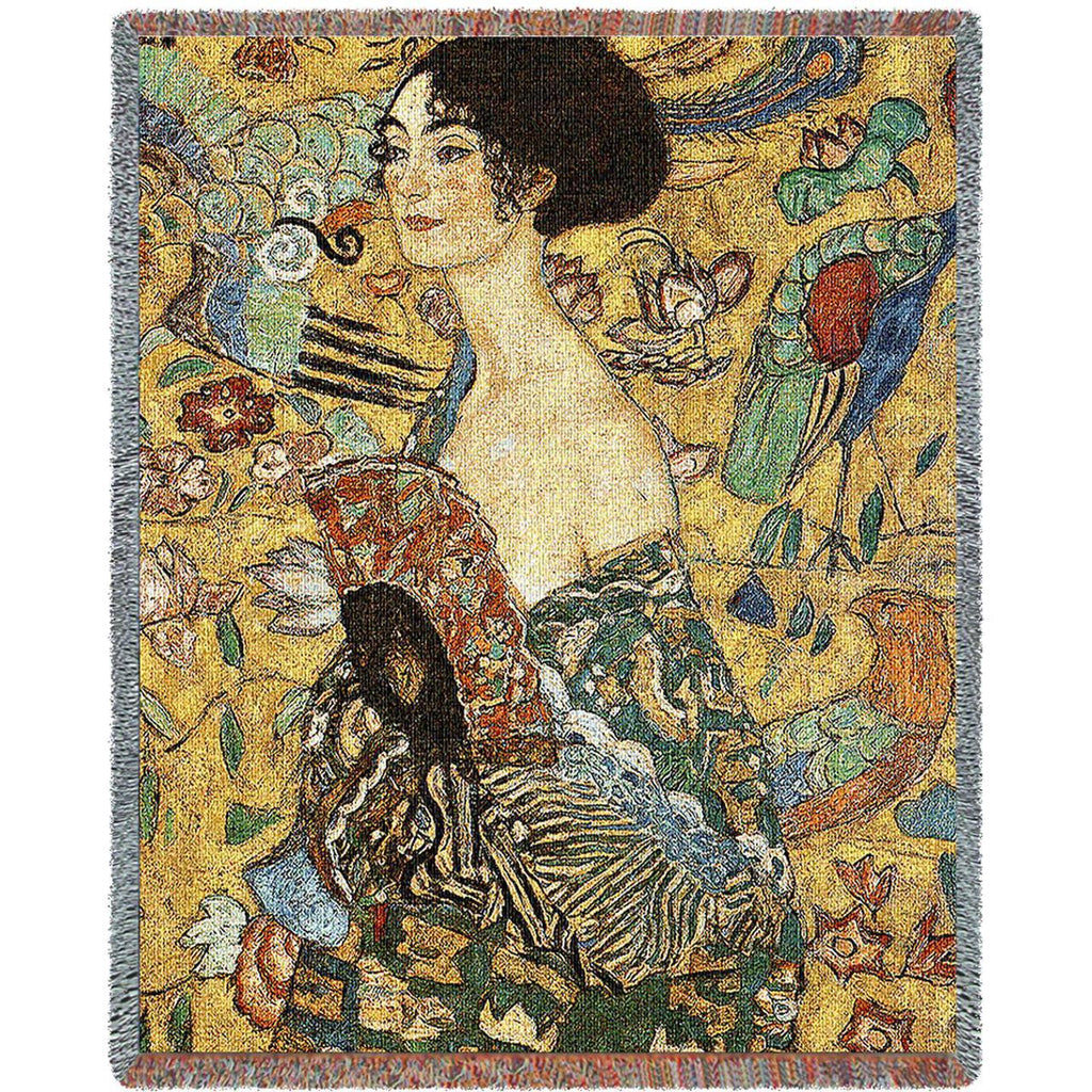 Gustav Klimt© Lady With Fan Woven Throw Blanket -