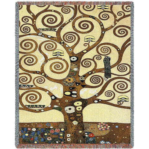 Gustav Klimt© Stoclet Frieze Tree of Life Woven Throw Blanket -