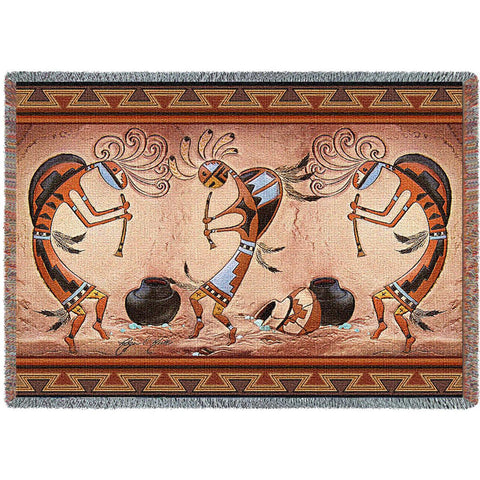 Kokopelli Pot Dance Woven Throw Blanket by Donna Polivka© -