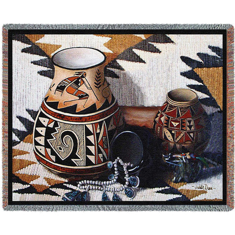 Kokopelli Pot Woven Throw Blanket -
