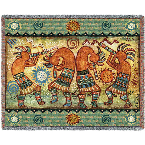 Kokopelli Quartet II Woven Throw Blanket by Donna Polivka© -