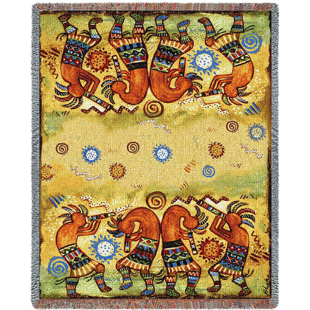 Kokopelli Quartet Woven Throw Blanket by Donna Polivka© -