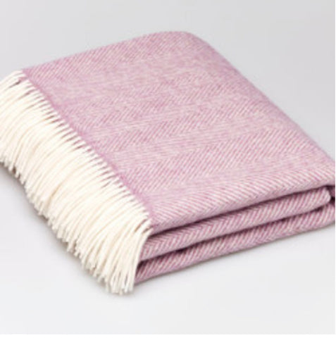Bronte by Moon Lilac Herringbone Merino Lambswool Throw Blanket - Wales
