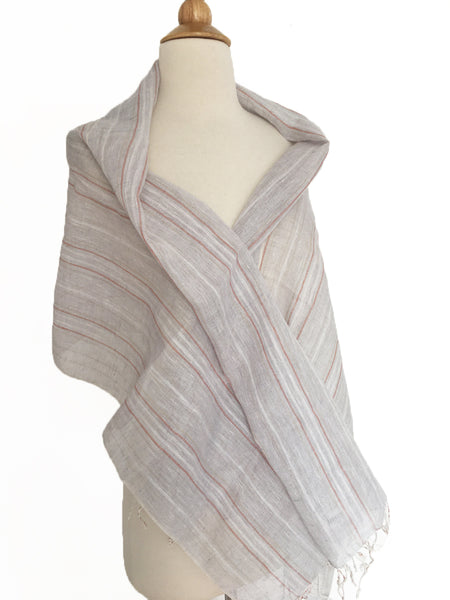 Linen Striped Stole w/Fringe - Light Gray-Taupe