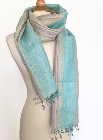 Linen Striped Scarf-Stole w/Fringe - Light Aqua/Tan