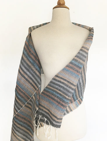 Linen Striped Stole w/Fringe - Multi Charcoal