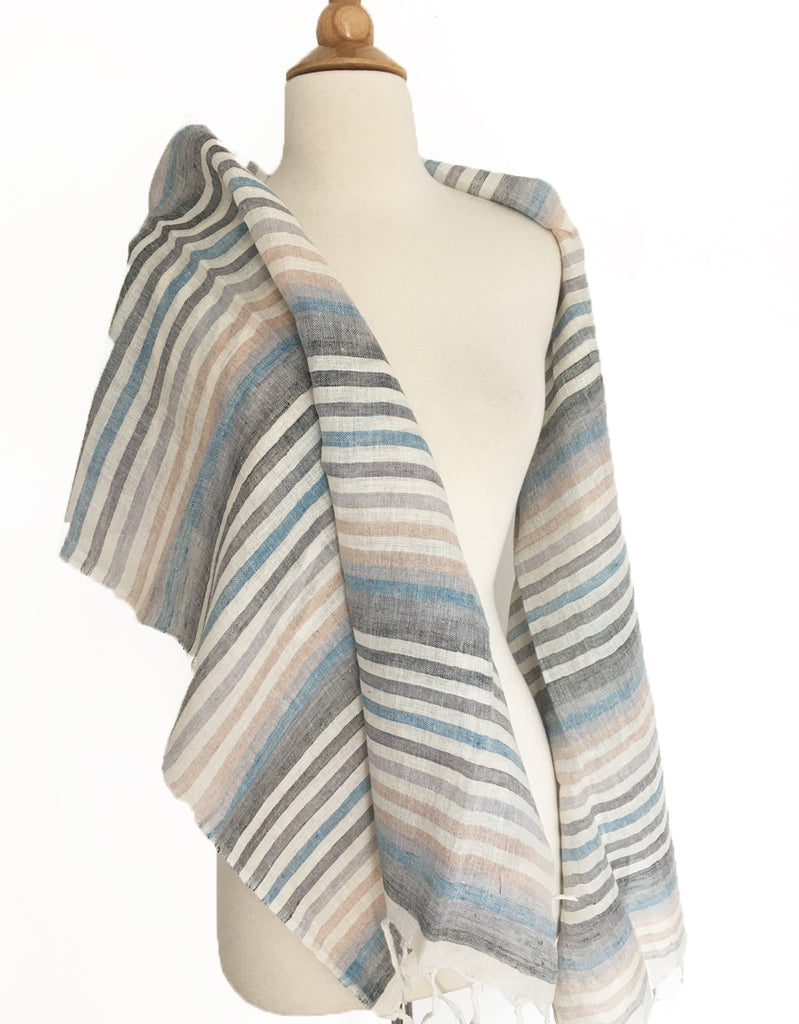 Linen Striped Stole w/Fringe - Multi Grays