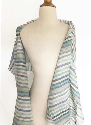 Linen Striped Stole w/Fringe - Multi Aqua