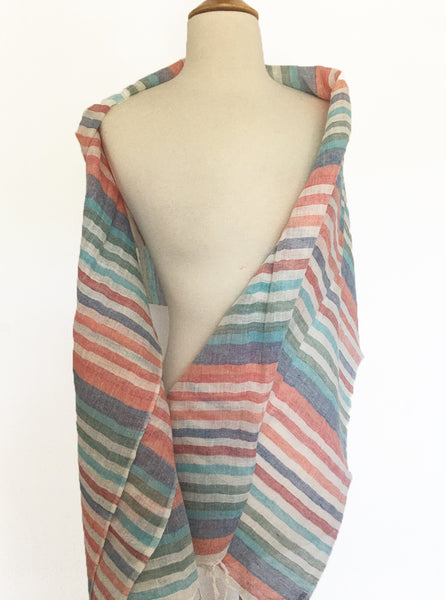 Linen Striped Stole w/Fringe - Multi Coral