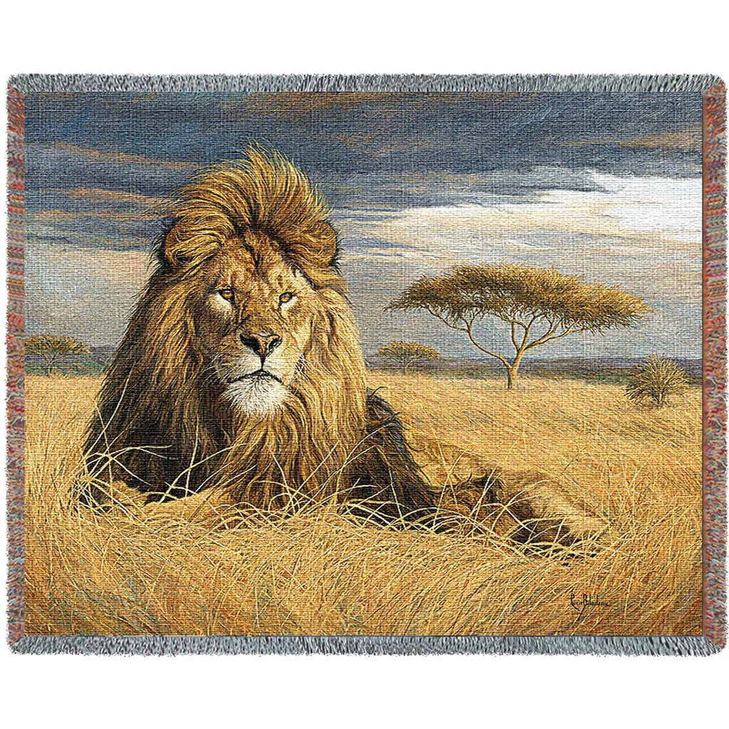 King Of The Pride Throw Blanket by Lucie Bilodeau© -
