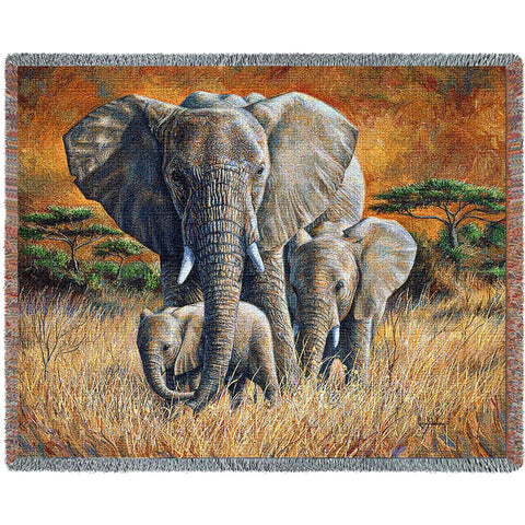 Loving Mother Elephant Tapestry Cotton Throw Blanket by Lucie Bilodeau© -