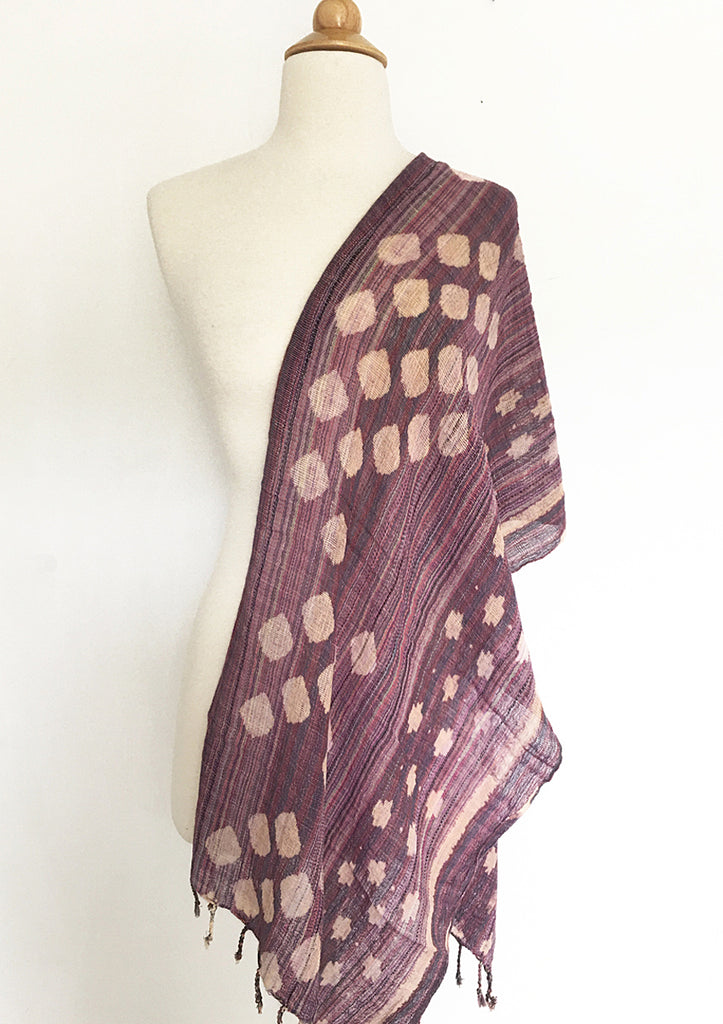 Woven Tribal Cotton Scarf - Multi Mauve/Natural