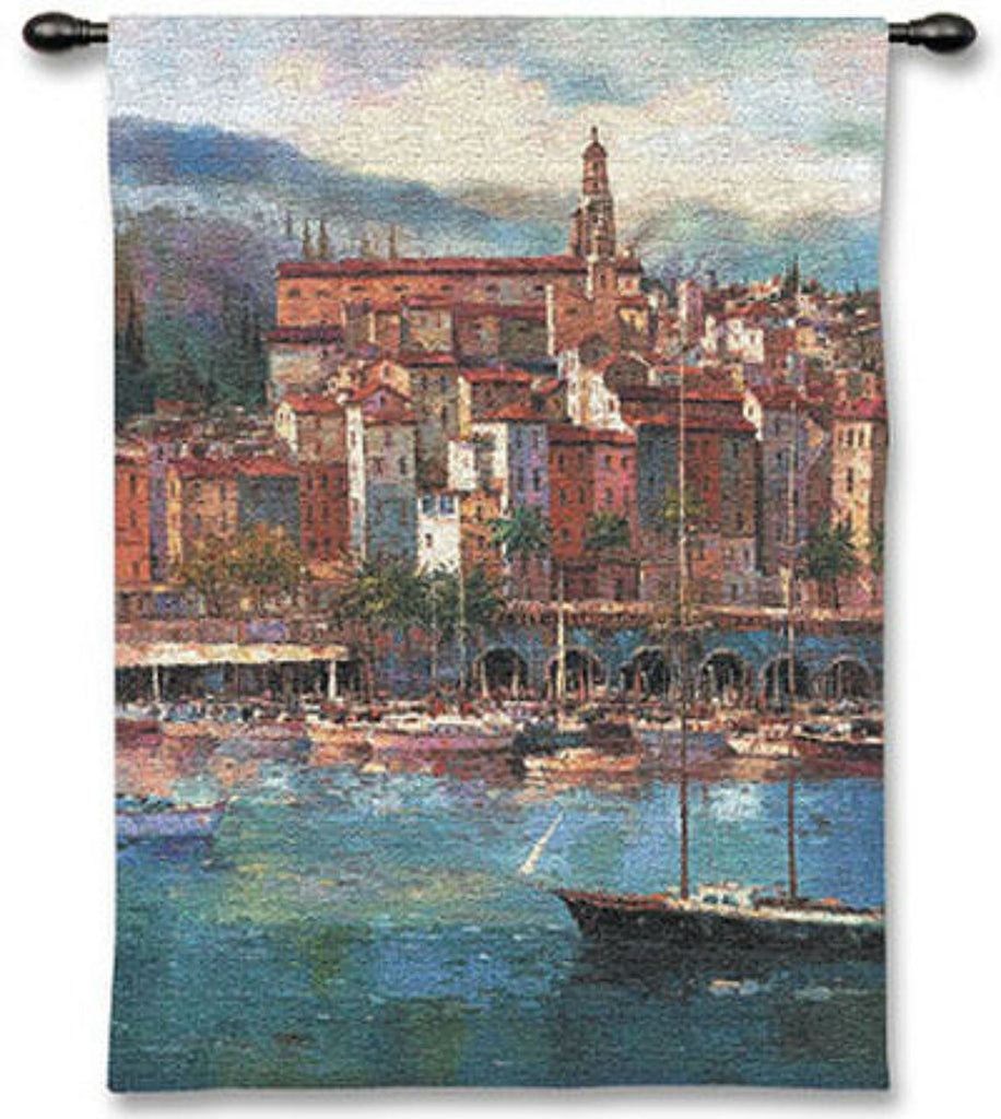 Mediterranean Harbor Wall Tapestry by Peter Bell© -
