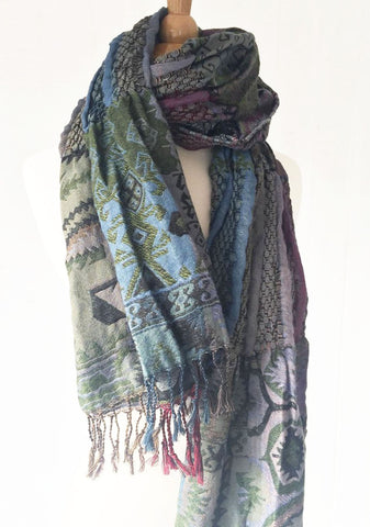 Woven Reversible Ruffled Scarf/Wrap - Native Pine