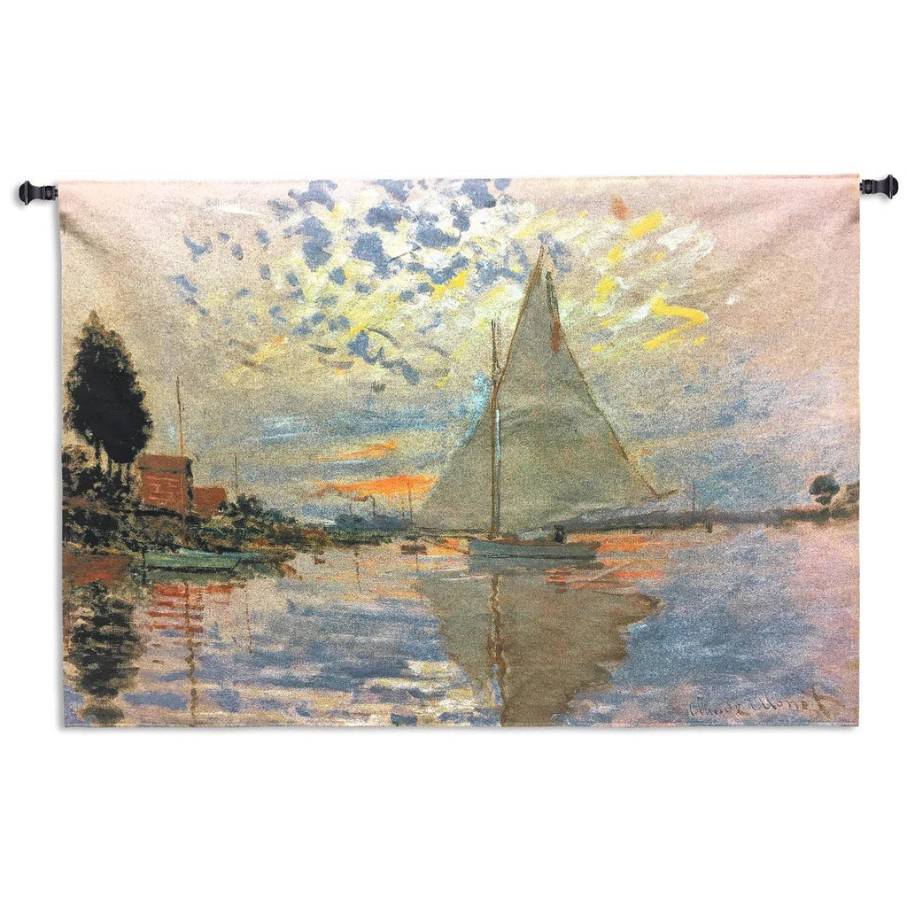 Claude Monet© Sailboat At Le Petit Gennevilliers Wall Tapestry|3 Sizes