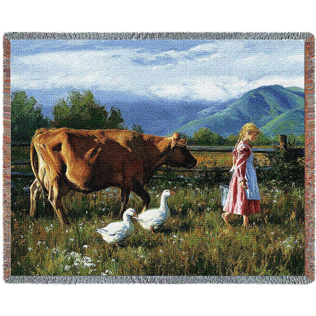 Morning Walk Woven Throw Blanket by Robert Duncan© -