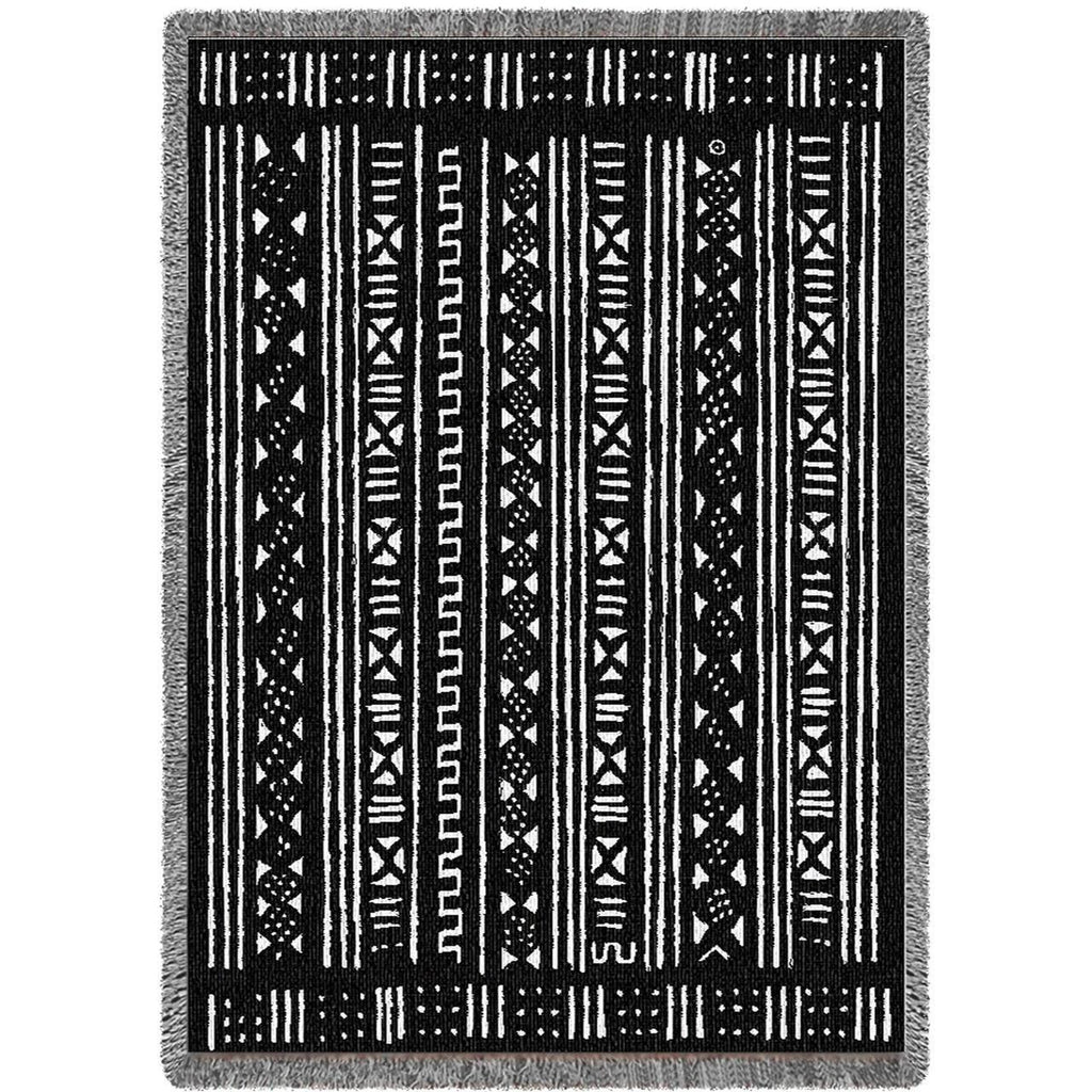 Mud Cloth Throw Blanket - Black or Blue -   - 1