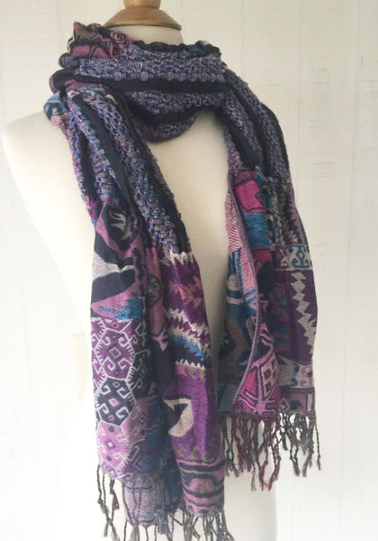 Woven Reversible Ruffled Scarf/Shawl - Native Plum