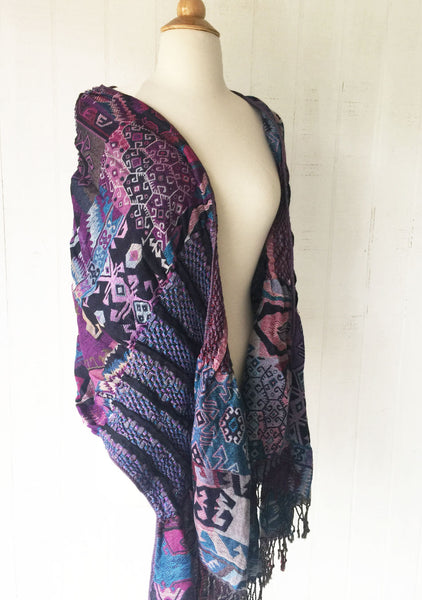 Woven Reversible Ruffled Scarf/Shawl - Moon Dance