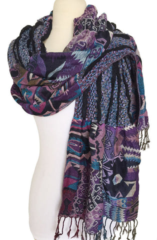 Woven Reversible Ruffled Scarf/Wrap - Moon Dance