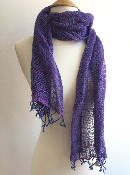 Handwoven Open Weave Cotton Scarf - Navy-Violet