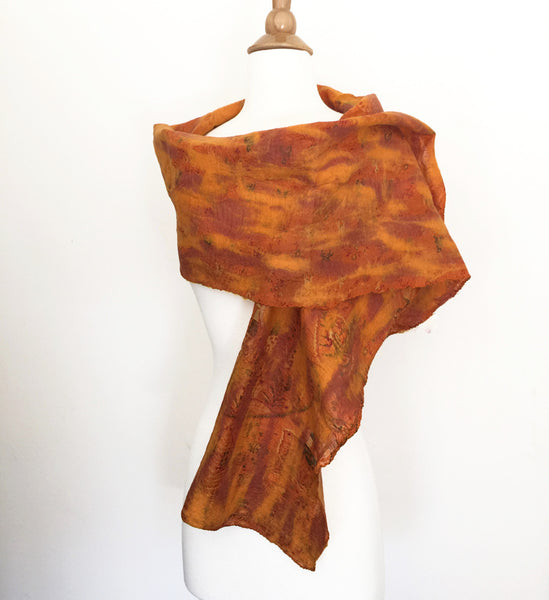 Marigold Vintage Sari Felted Wool-Silk Scarf - One-of-a-Kind -   - 1
