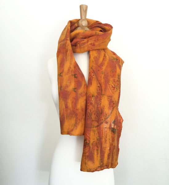 Marigold Vintage Sari Felted Wool-Silk Scarf - One-of-a-Kind -   - 6