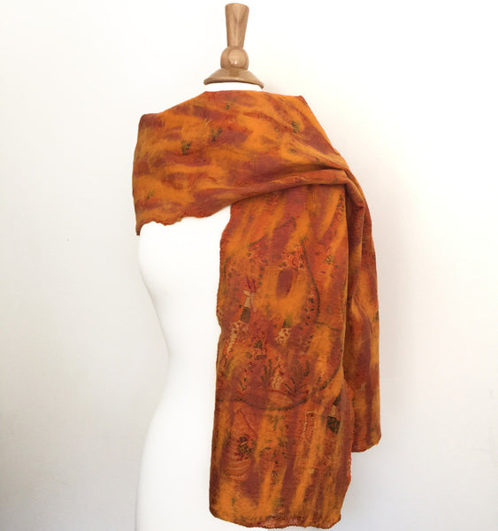 Marigold Vintage Sari Felted Wool-Silk Scarf - One-of-a-Kind -   - 4