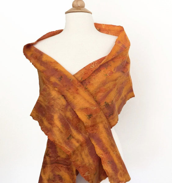 Marigold Vintage Sari Felted Wool-Silk Scarf - One-of-a-Kind -   - 2