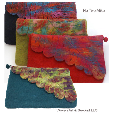 Nuno Felted Wool Leaf Clutch Bag One-Of-A-Kind Handmade|Teal, Black, Red, Chartreuse