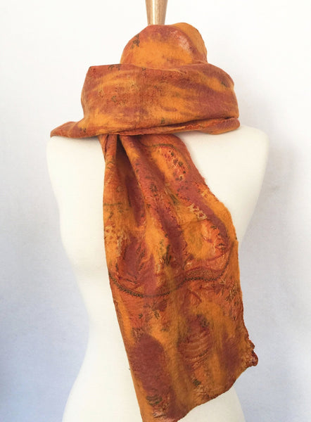 Marigold Vintage Sari Felted Wool-Silk Scarf - One-of-a-Kind Werarable Art