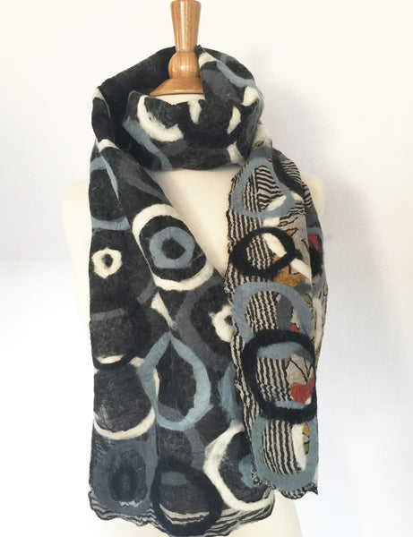 Ebony Felted Merino Wool-Sari Silk Circle Scarf One-of-a-Kind Wearable Art
