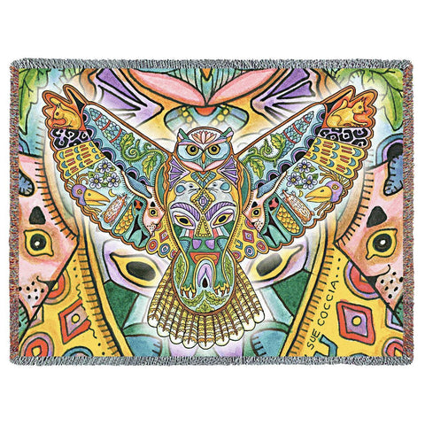 Northwest Great Horned Owl Woven Throw Blanket by Sue Coccia© - Native American