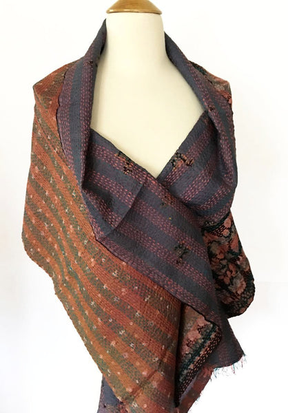 Kantha Silk Reversible Scarf-Stole - Mauve/Teal