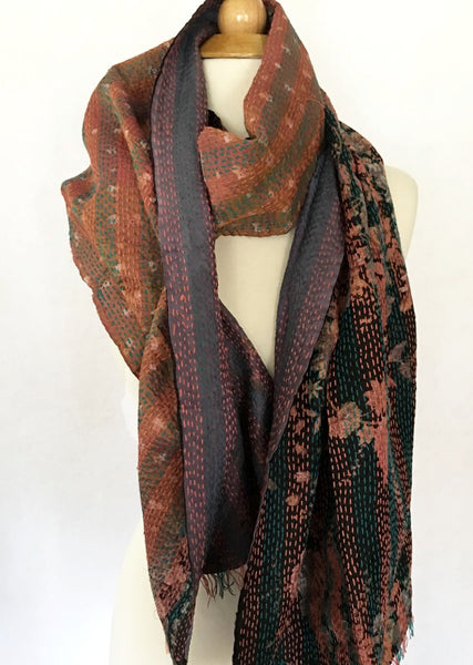 Kantha Silk Reversible Stole-Scarf - Mauve/Teal