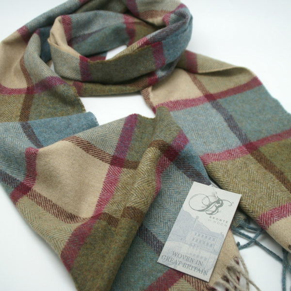 100% Merino Lambswool British Scarf - Teal Pateley -   - 2