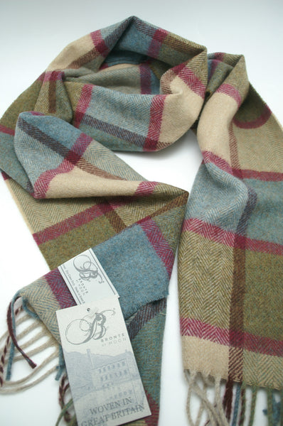 100% Merino Lambswool British Scarf - Teal Pateley -   - 4