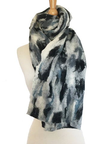 Abstract Paint III Nuno Felted Merino Wool-Sari Silk Scarf|One-of-a-Kind Wearable Art