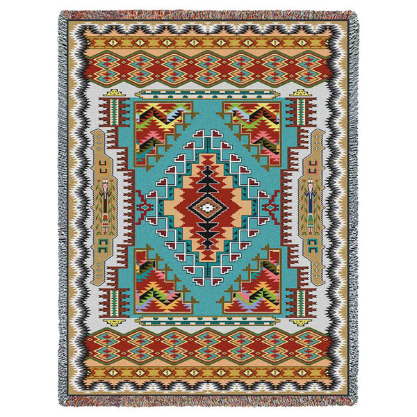 Southwest Painted Hills Turquoise Woven Cotton Throw Blanket
