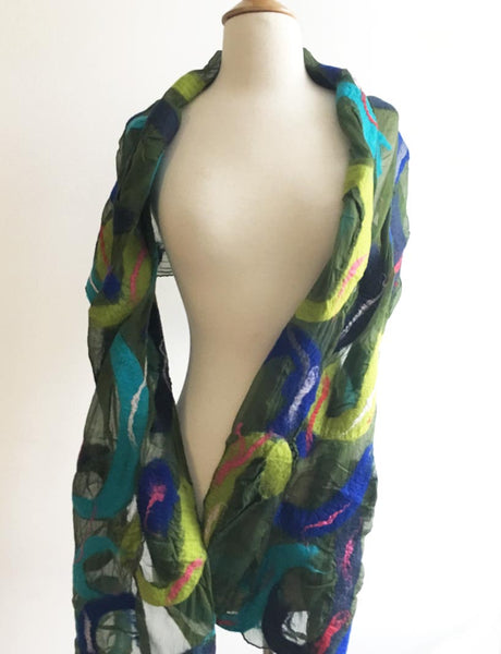 Paisley Blue Green Nuno Felted Wool-Silk Scarf- One-of-a-Kind Wearable Art