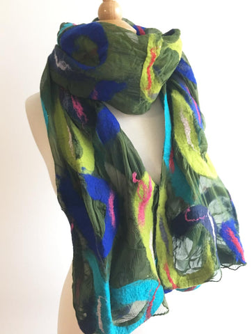 Paisley Blue Green Nuno Felted Wool-Silk Scarf|One-of-a-Kind Wearable Art