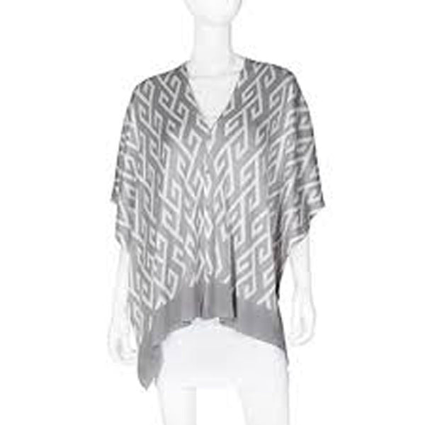 Papillon Bamboo The Clara Grey/White Scarf-Shawl-Cardigan 3 in 1