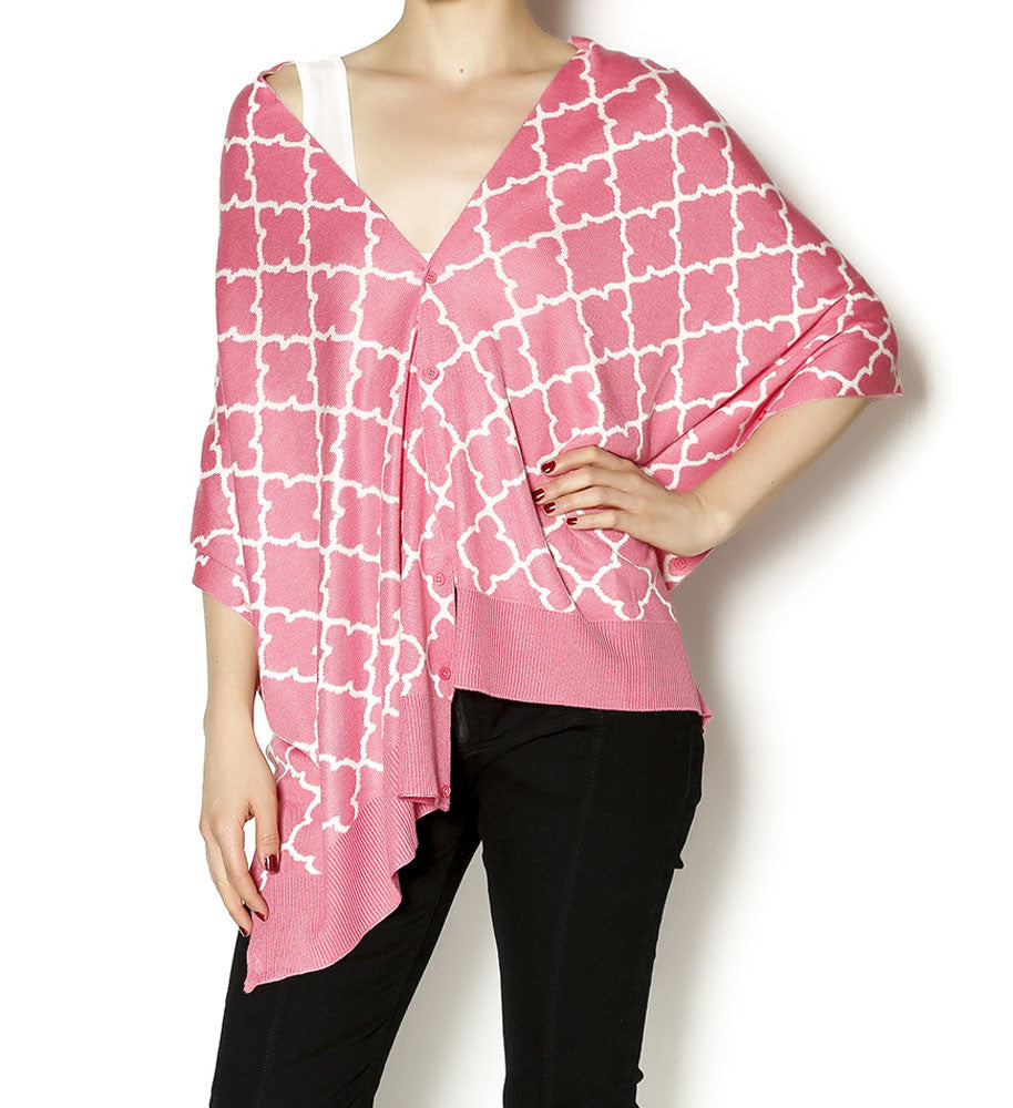 Papillon Bamboo The Eloise Pink/White Scarf-Shawl-Cardigan 3 in 1