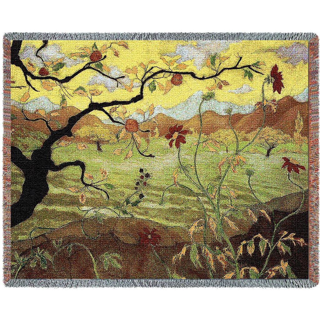 Paul Ranson© Apple Tree With Red Fruit Woven Throw Blanket -   - 2