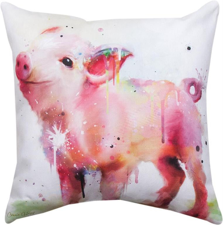 Piggy Indoor-Outdoor Pillow by Connie Haley©