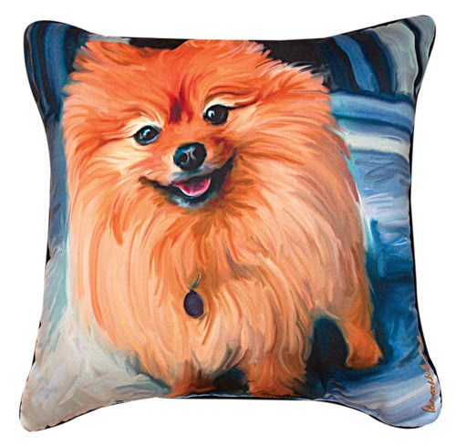 Blue Pom Pomeranian Pillow by Robert McClintock -